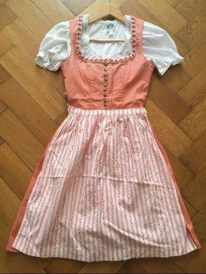 Dirndl mit Schürze und Bluse rosa altrosa