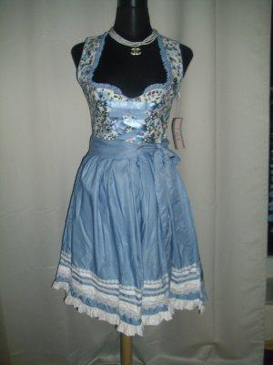 Vestido Dirndl azul-blanco Algodón