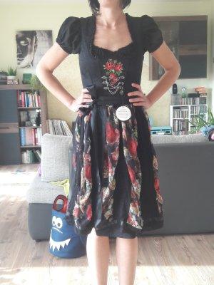Vestido Dirndl negro-rojo ladrillo