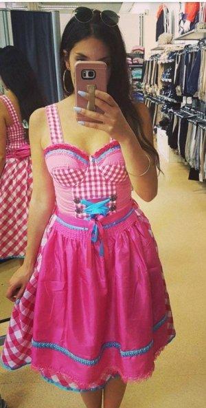Dirndl Neu kariert weiß pink türkis S blogger hipster Wiesn Oktoberfest