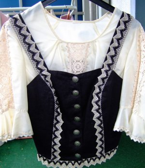 Chaleco folclórico negro-crema Algodón