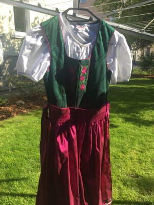 Country Line Dirndl pink-forest green cotton