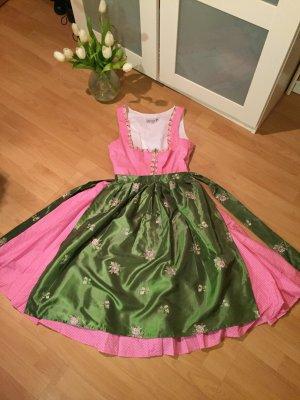 Dirndl Polkadots PunkteBlumen Stickerei rosa grün Alpenblume