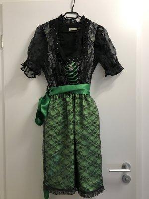 Dirndl schwarz/grün 42   Bluse schwarz 44