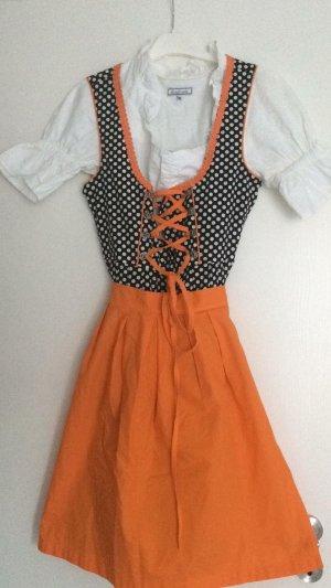 Dirndl schwarz weiß orange Gr 36 wie neu