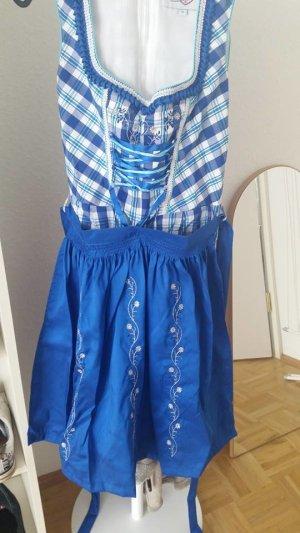 Dirndl Set (Kleid | Schürze | Bluse (nicht auf dem Foto)), Gr 38/M, blau, kariert