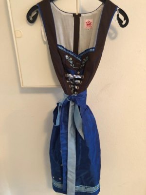 Spieth & Wensky Vestido Dirndl azul-marrón-negro