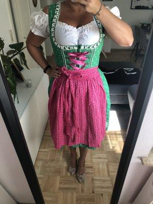 Turi Landhaus Vestido Dirndl verde-rosa