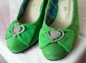 Backless Pumps grass green leather