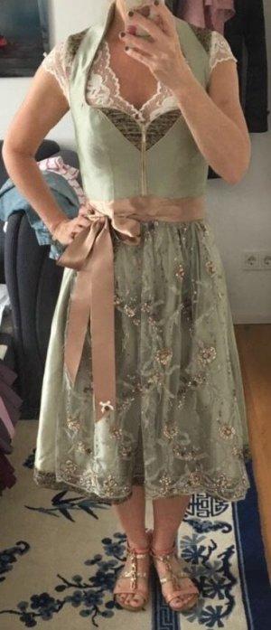 Alpenherz Corsage Dress sage green-apricot