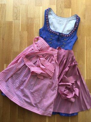 Angermaier Vestido Dirndl azul celeste-rosa empolvado