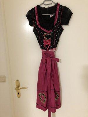 Dirndl von Fuchs schwarz pink mit Dirndlbluse von Krüger Madl schwarz Größe XS/34