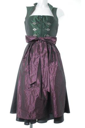 Dirndl waldgrün-purpur Punktemuster Elegant
