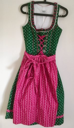 Country Line Dirndl forest green-raspberry-red