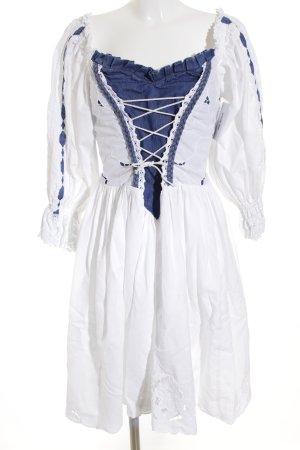 Vestido Dirndl blanco-azul oscuro Algodón