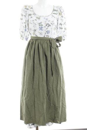Dirndl blanc-vert gazon motif de fleur style décontracté