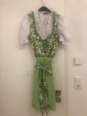 Dirndl Wiesenkönig grün weiß 38 mit Bluse