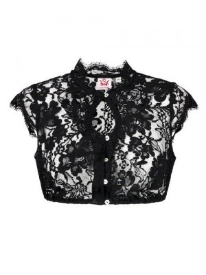 Spieth & Wensky Folkloristische blouse zwart Gemengd weefsel