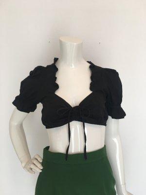 Dirndlbluse Trachtenbluse Bluse Top Oberteil crop cropped rüschen schwarz xs Dekolleté tee sexy feminin Oktoberfest wiesn Wasen Schleife