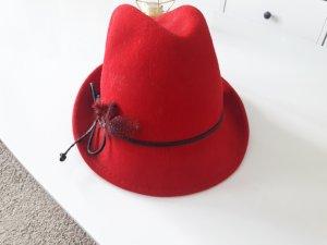 Chapeau en feutre rouge brique