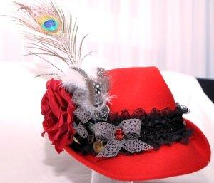 Cappello Trilby rosso Feltro