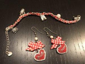 Dirndlschmuck rot Armband+Ohrringe