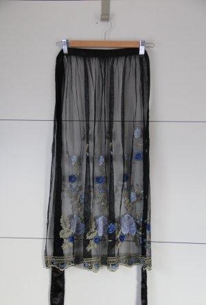 Dirndlschürze transparent schwarz mit Sickerei