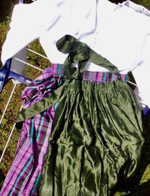 Traditional Apron forest green-grass green