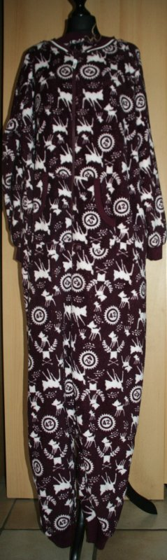 Disney Bambi Schlafanzug Overall fleece weinrot weiß Gr. XL