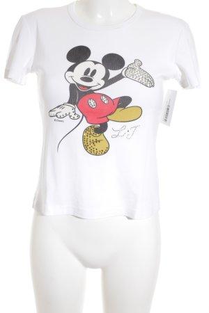 Disney Print-Shirt weiß Comicmuster Glitzer-Optik