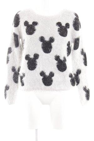 Disney Sweatshirt weiß-schwarz Allover-Druck Casual-Look