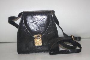 2b6c2a03a16b2 Disser Lederhandtasche   Umhängetasche   Leder   Krokoprägung   Gold    schwarz
