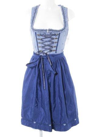 Distler Kurzarmkleid weiß-blau Blumenmuster klassischer Stil