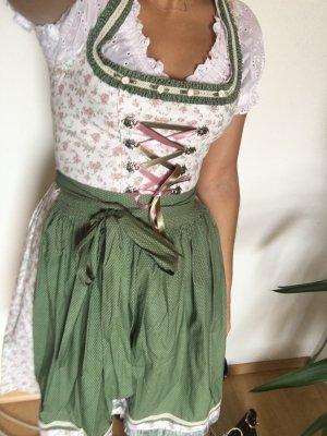 Distler Tracht Pastell Grün Rosé Mini Blogger mit Bluse