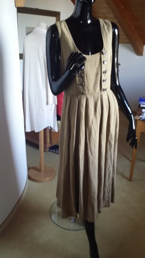 Distler Vestido Dirndl marrón arena Lino
