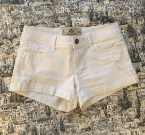 Distressed White Denim Shorts