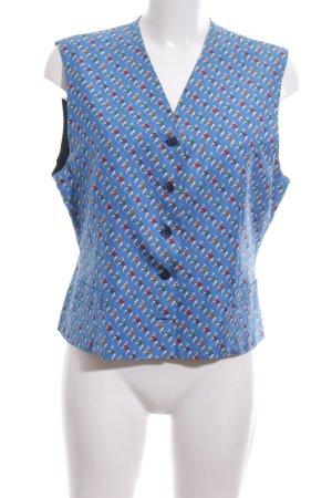 Diva Anzugweste blau-wollweiß Allover-Druck extravaganter Stil