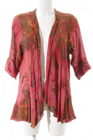 Diva Kimono Pullover neonrot-himbeerrot florales Muster Gypsy-Look