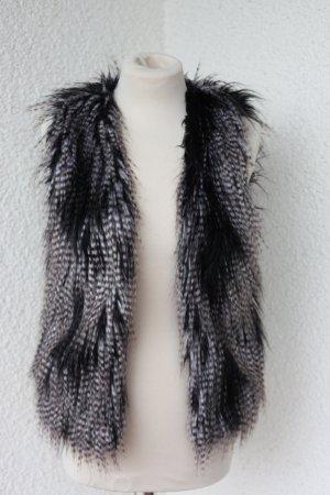 Divided Gr. 34 XS Weste Fake Fur Kunstfell Fellweste Blogger weiß schwarz grau