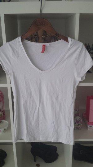 Divided H&M Basic Tshirt weiß V- Ausschnitt sehr beliebt