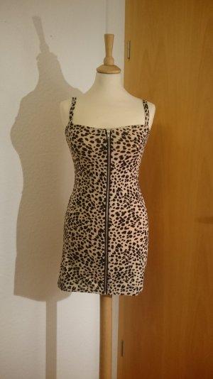 DIVIDED H&M Modisches Leo Kleid, enganliegend, figurbetont, fällt aus wie Gr. 36