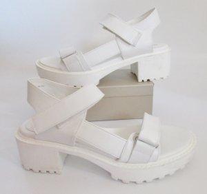 DIVIDED H&M Sandalen Größe 38 Weiß Sandaletten Schuhe Riemchen Schnallen Klett Sportlich dicke Sohle
