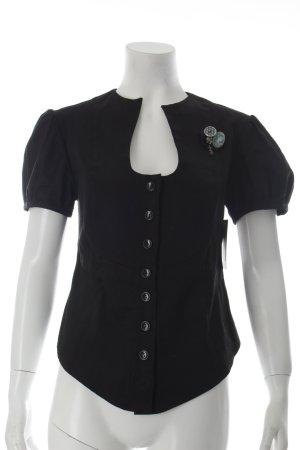 Divina Providancia Kurzarm-Bluse schwarz Business-Look