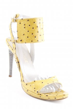 Divine Follie High Heels gelb-schwarz Punktemuster extravaganter Stil