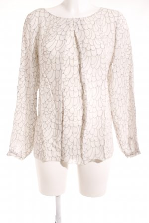 Dixie Langarm-Bluse weiß-grau abstraktes Muster Casual-Look