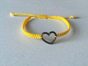 DIY Armband Armkette *Herz* Anthrazit Gelb Handmade