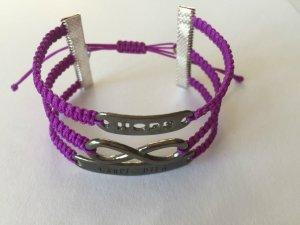 DIY Armband Armkette *Hope, Infinity und Carpe Diem* Lila Anthrazit