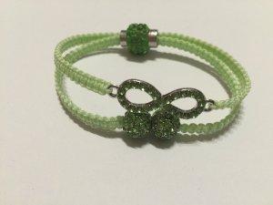 DIY Armband Armkette *Infinity* Grün Silber Strass Handmade