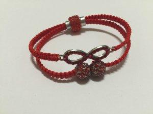 DIY Armband Armkette *Infinity* Rot Silber Strass Handmade