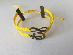 DIY Armband Armkette *Infinity und Anker* Gelb Bronze Handmade